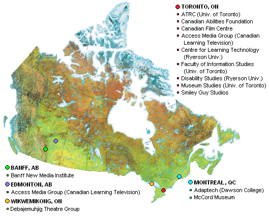 Map of Canada with partners listed and their locations marked.