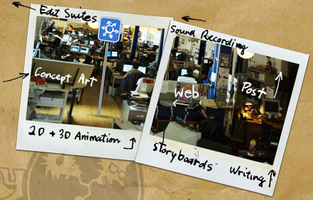 An image showing two photographs of the Smiley Guy Studios workspace that have the following handwritten notes on them edit suites, sound recording, storyboards, writing, concept art and 2D+3D animation